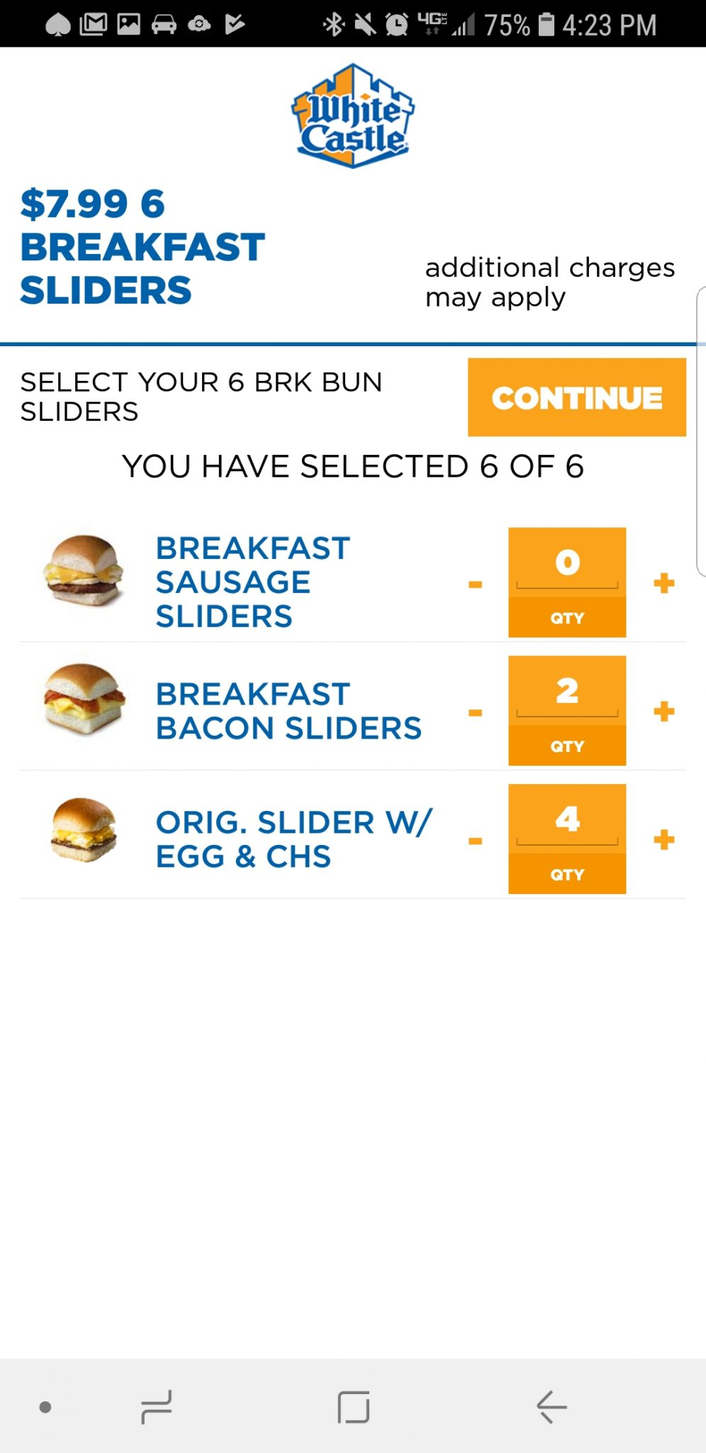 White Castle screen for picking sliders.