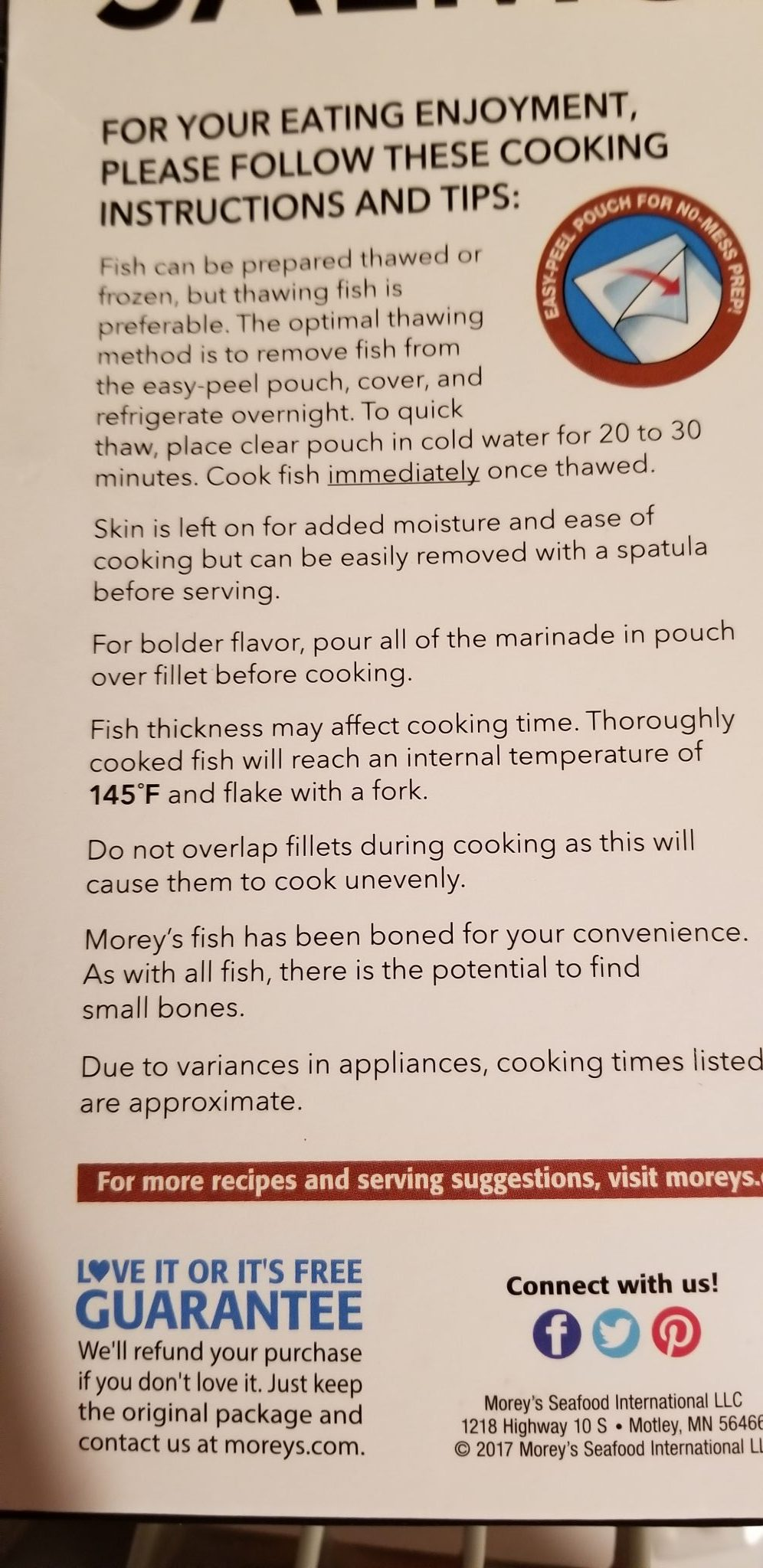 Morey's Wild Caught Salmon Cooking Instructions