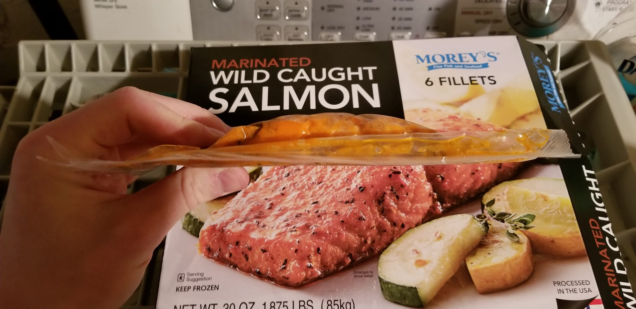 Morey's Wild Caught Salmon Air-tight pouch in profile