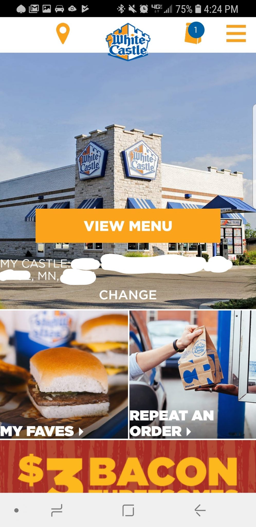 White Castle Mobile App First Screen