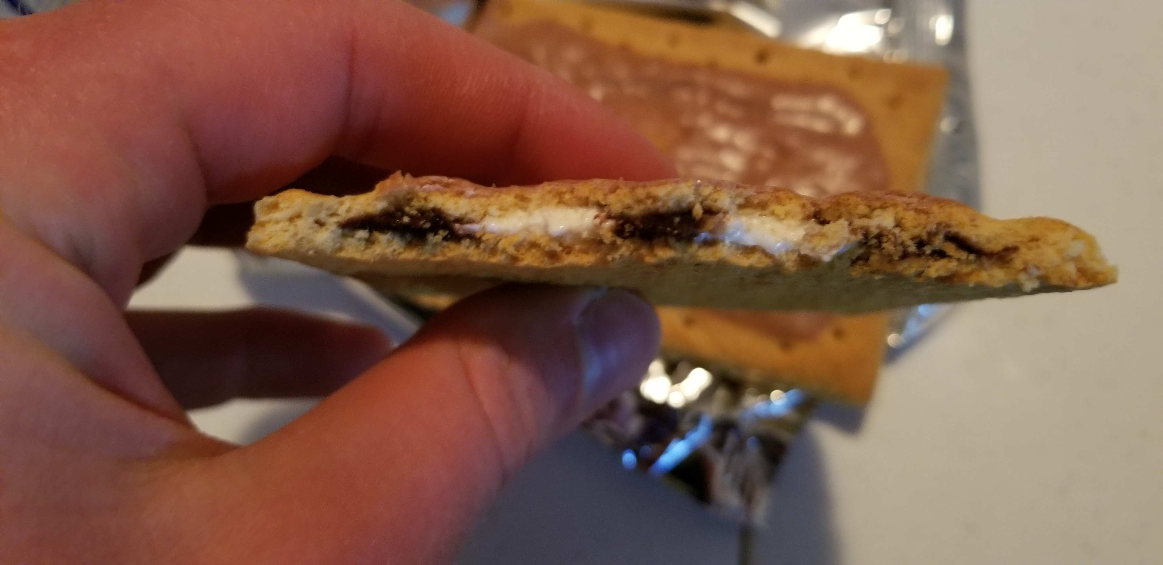 Picture of a s'mores pop-tart after taking a bite