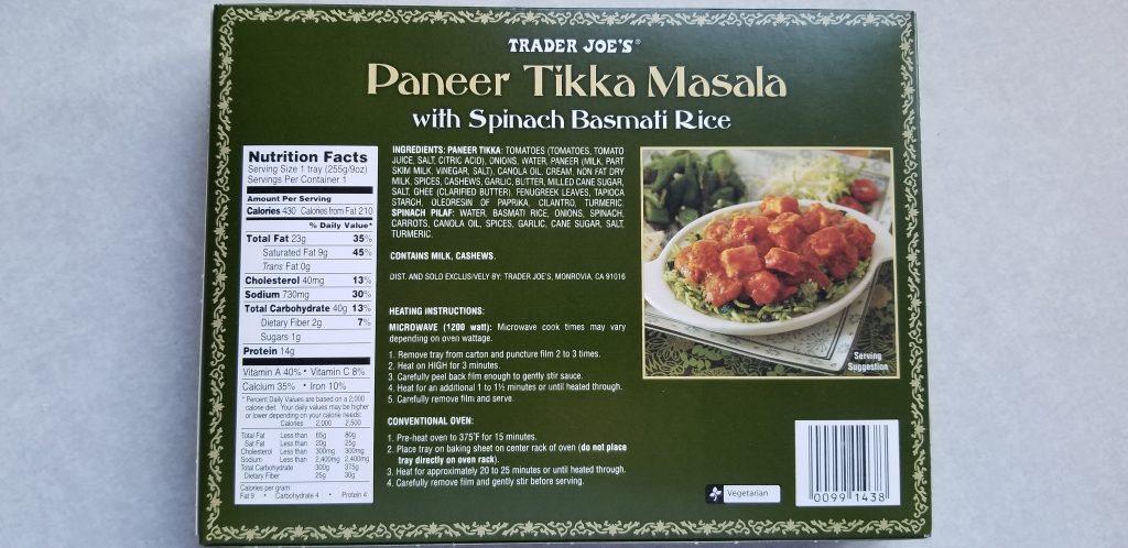 Trader Joe's Tikka Masala with Spinach Basmati Rice back of packaging
