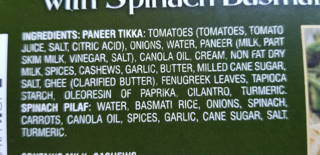 Trader Joe's Tikka Masala with Spinach Basmati Rice Ingredients
