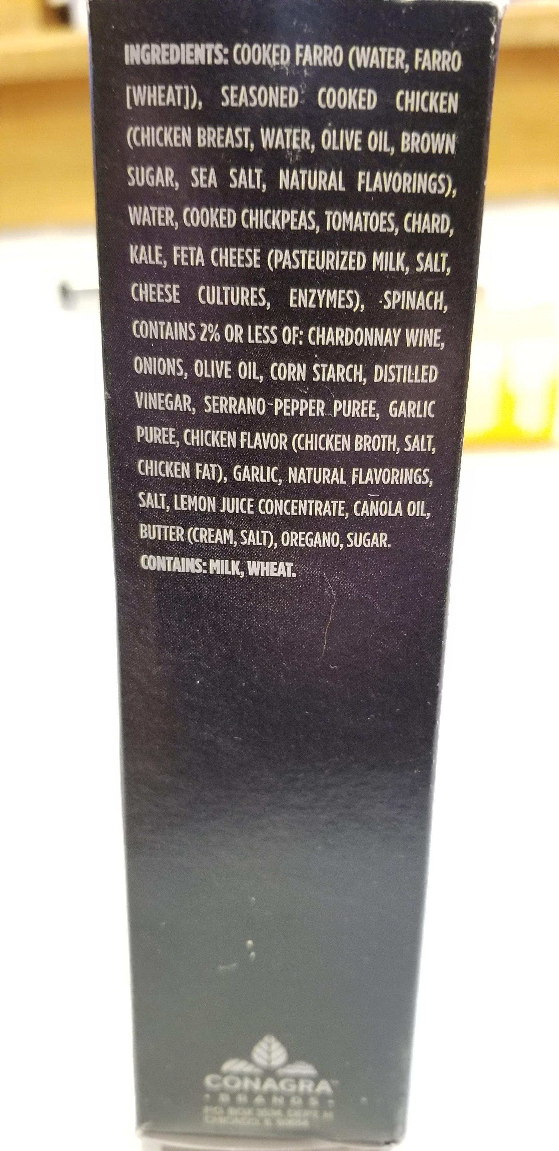 Healthy Choice Power Bowls Chicken Feta & Farro Ingredients