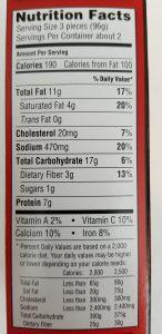 TGI Fridays Potato Skins Cheddar & Bacon Ingredients