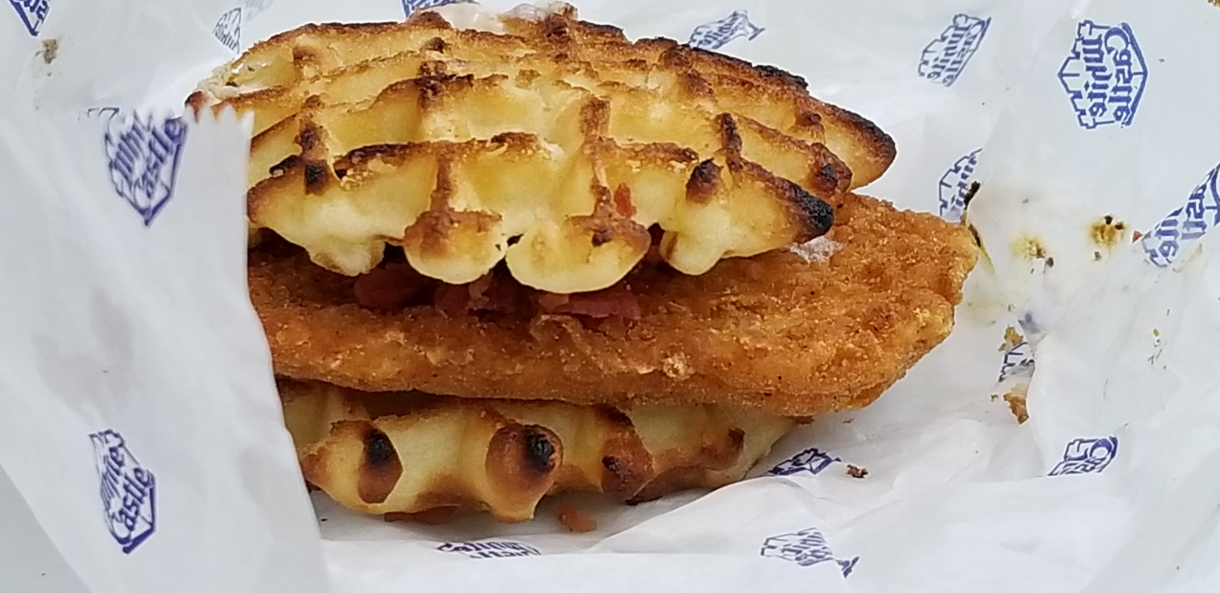 White Castle Chicken and Waffle Slider with Bacon