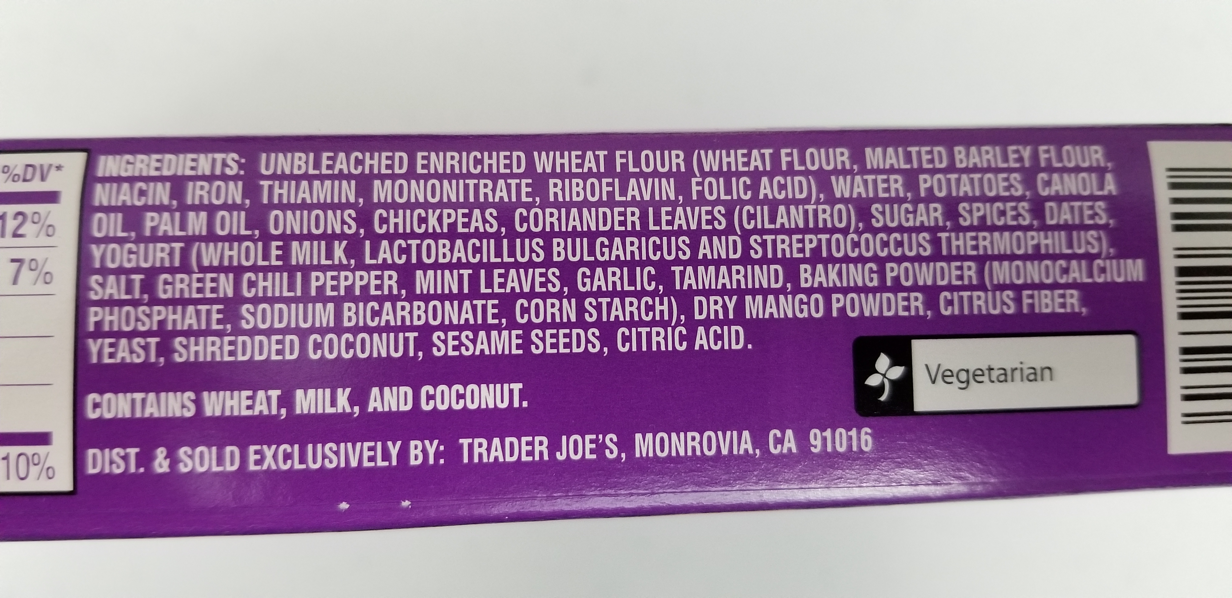 Trader Joe's Aloo Chaat Kati Pouches Ingredients