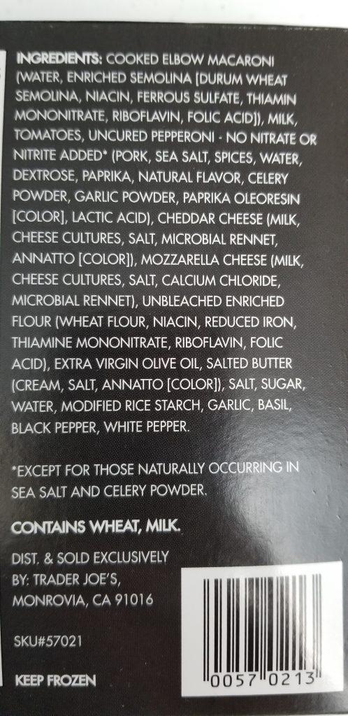 Trader Joe's Pepperoni Pizza Mac & Cheese Bowl Ingredients