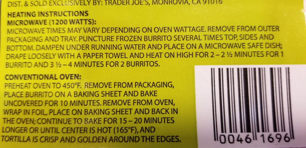 Trader Joe's Chicken Chile Verde Burritos with dark and white meat chicken cooking instructions midnight snack
