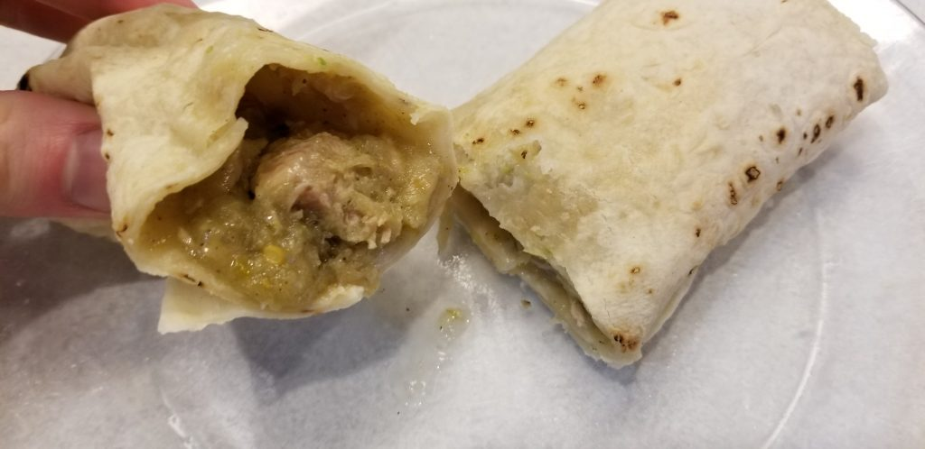 Trader Joe's Chicken Chile Verde Burritos with dark and white meat chicken fully cooked midnight snack