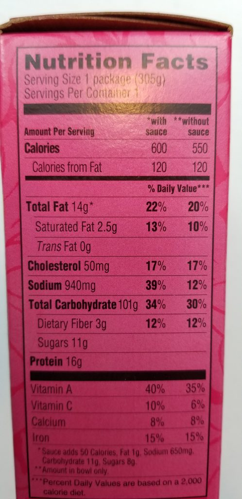 Trader Joe's Bibimbap Bowl Nutrition Facts