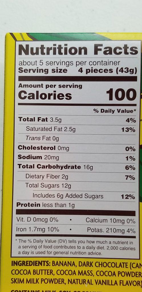 Trader Joe's Gone Bananas Nutrition Facts