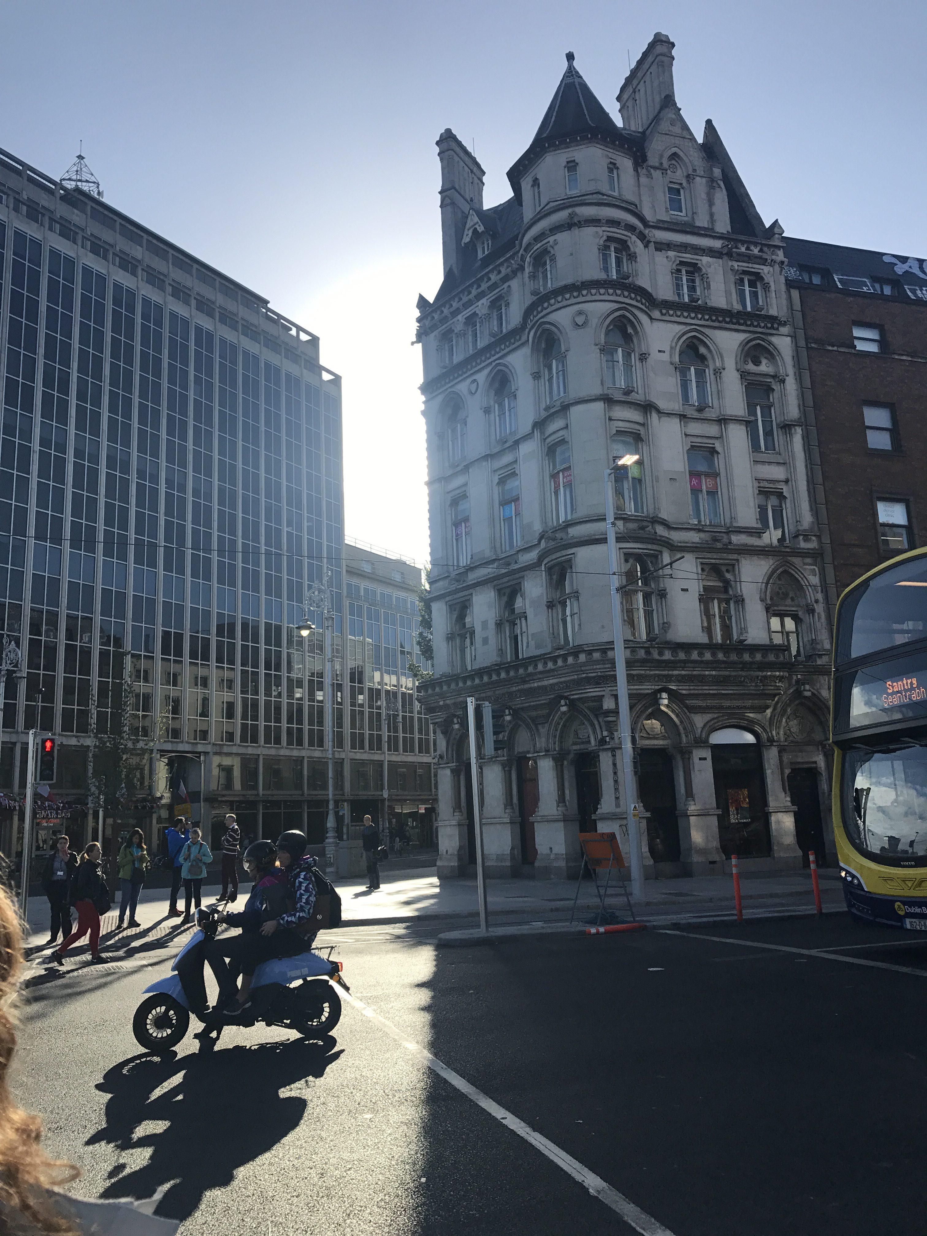 street, skyscrapers, people, bus, sunshine