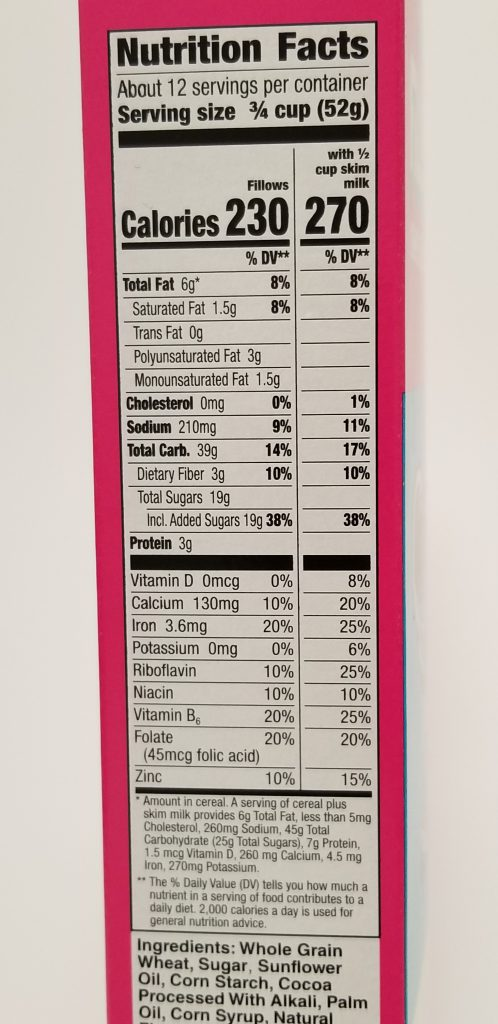 Hershey's filllows nutrition facts