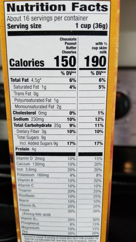 Peanut Butter Chocolate Cheerios Nutrition Facts