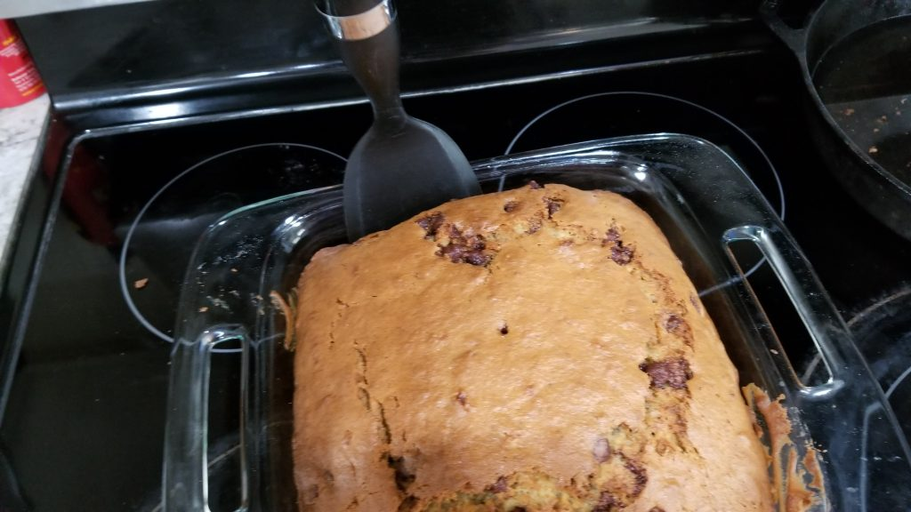 chocolate chip banana bread in dish