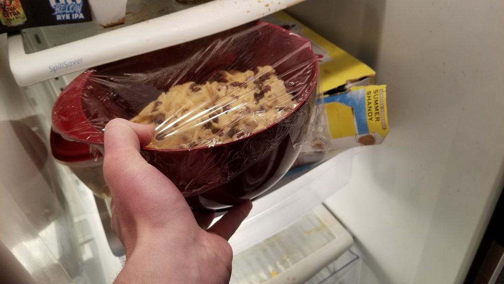 cookie dough in refrigerator