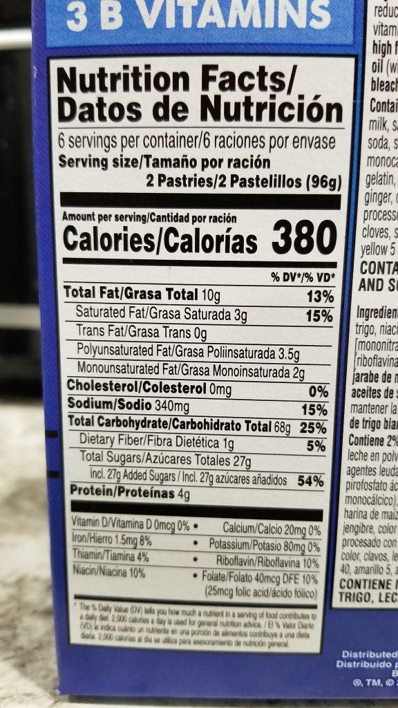 Pumpkin pie Pop-Tarts nutrition information