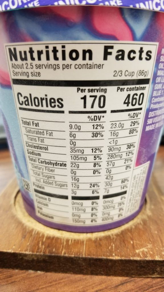 unicorn birthday cake ice cream nutrition facts