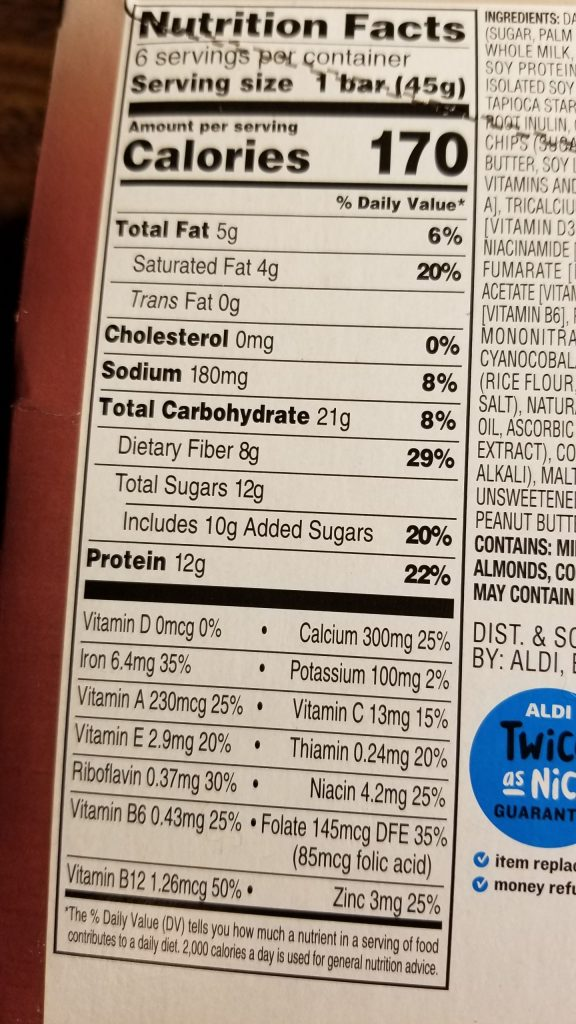 Elevation double chocolate protein nutrition facts