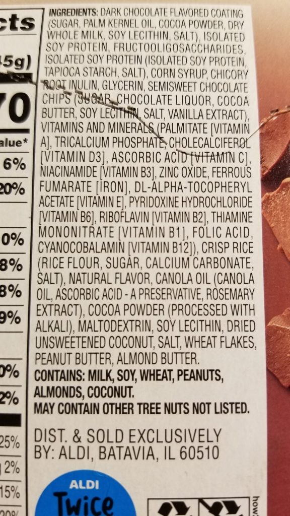 Elevation protein bar nutrition facts