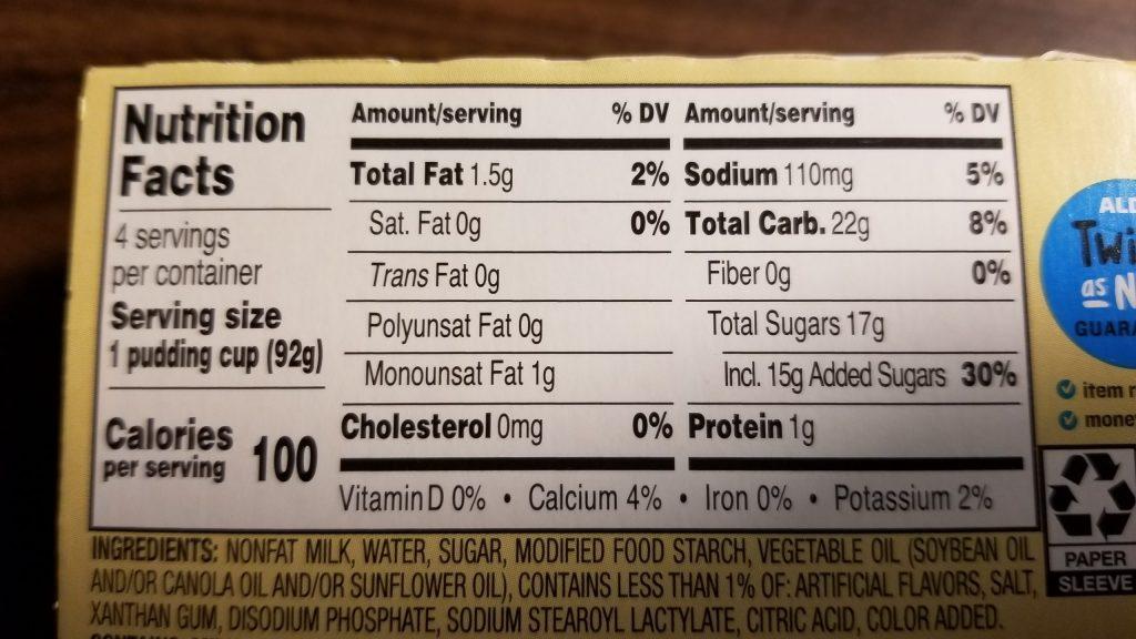 Vanilla pudding nutrition facts