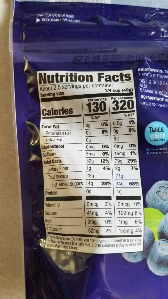 dried blueberry nutrition facts