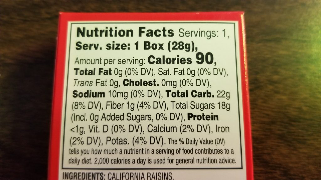 Southern Grove Raisins Nutrition Facts