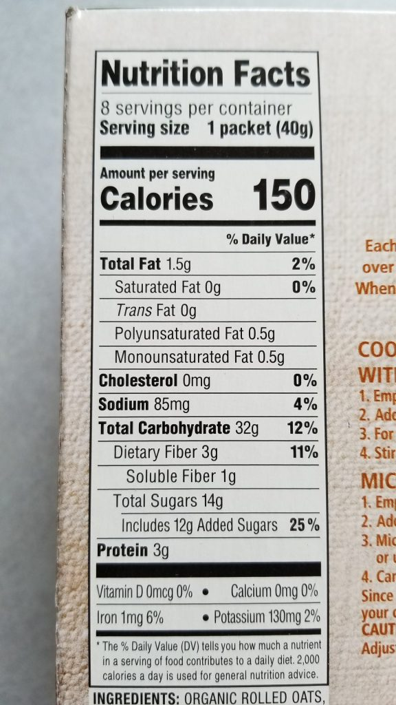 Simple Nature Apple Cinnamon Instant Oatmeal Nutrition Facts