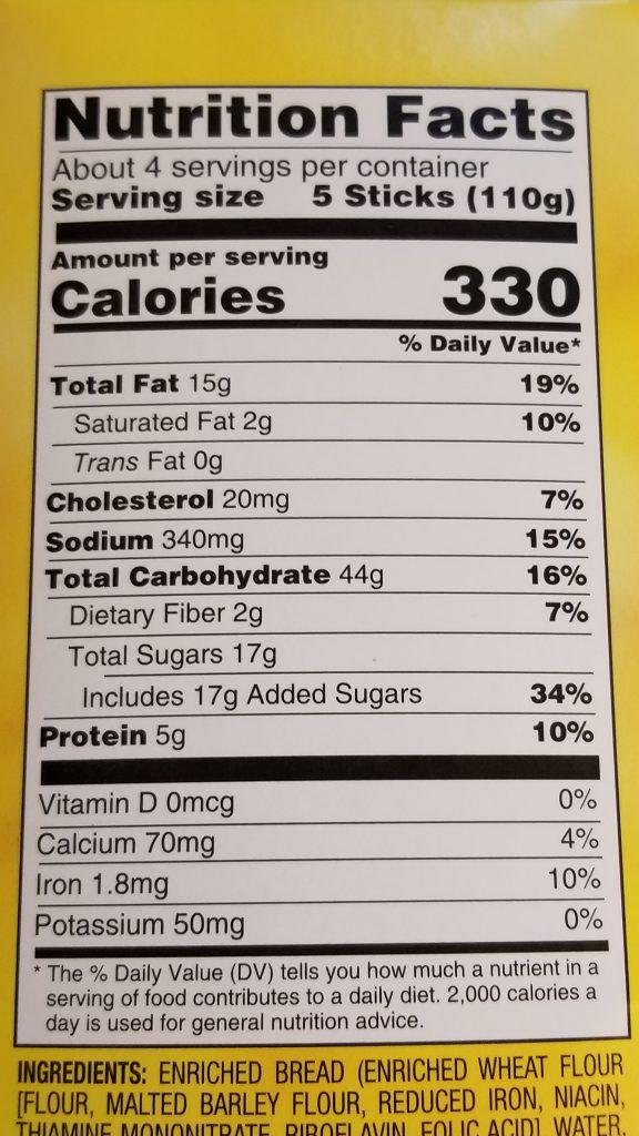 Cinnamon French Toast Sticks Nutrition Label