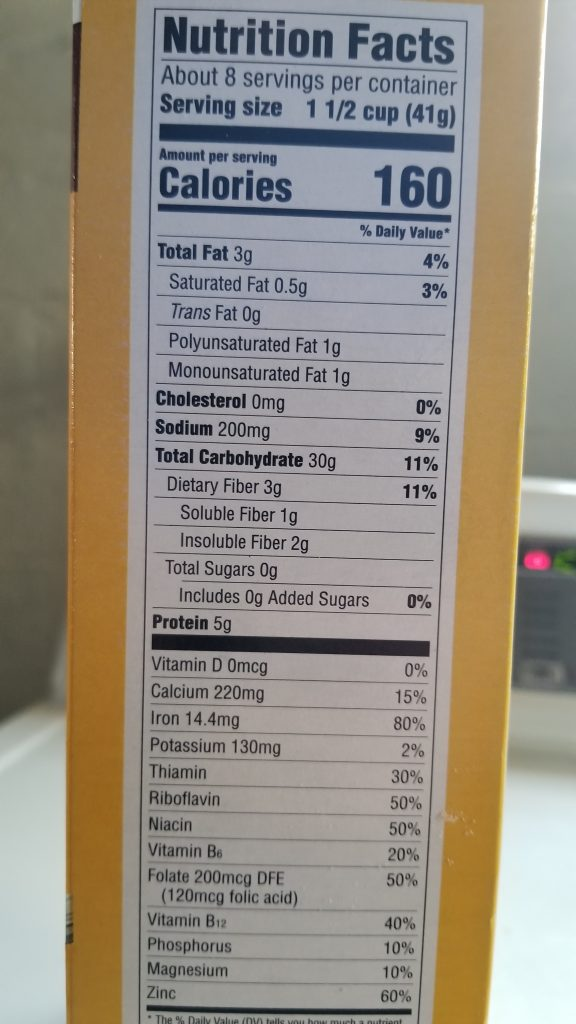 Millville Crispy Oats Nutrition Facts