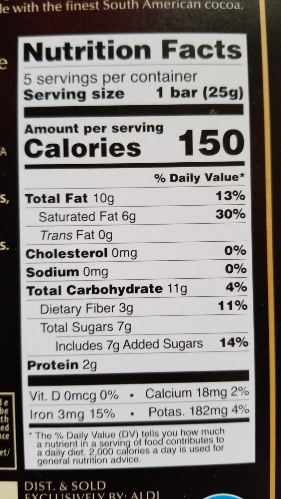 Moser Roth 70% Dark nutrition facts
