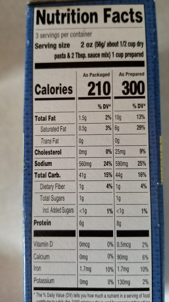 Reggano Shells & White Cheddar Nutrition Facts