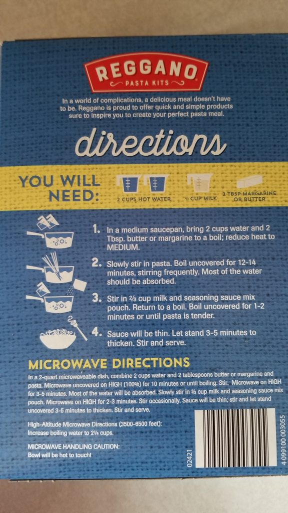 Reggano cooking instructions