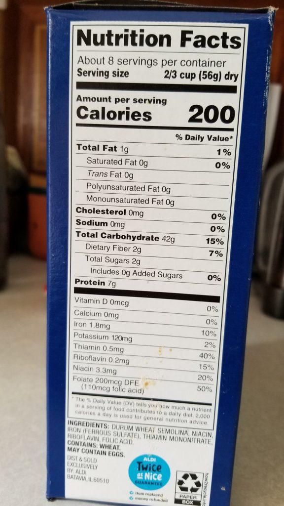 Reggano Rotini Nutrition Facts