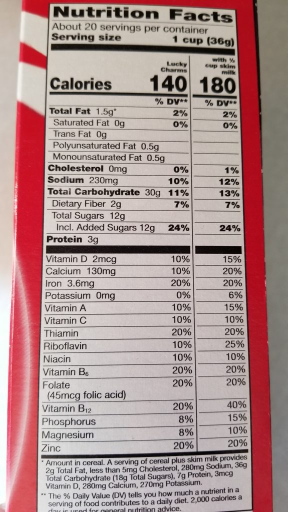 Lucky Charms Nutrition Facts