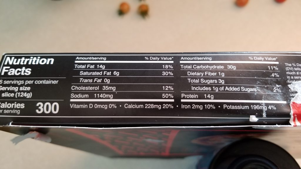 Mucci's pizza nutrition facts