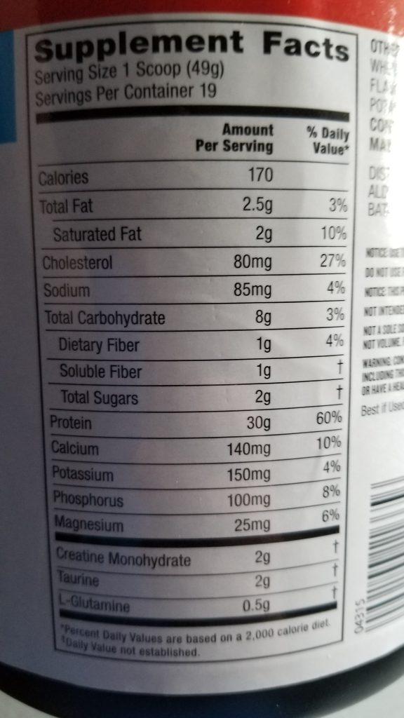Elevation Vanilla Whey Protein Nutrition facts